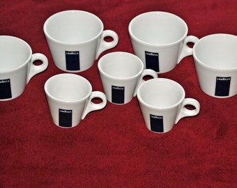 LAWAZZA Cups - 4 regular size - 3 demitasse - made in Italy
