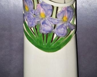 "Vintage Iris Vase - signed by ""NELSON"""