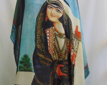 Persian scarf,Qajar painting ,100%Banana