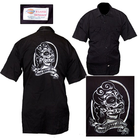 Embroidered sugar skull pin up shirt dickies work shirt for Embroidered dickies work shirts