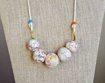 Felted Necklace - Rainbow Swirl