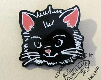 Retro Black Cat Brooch in Black Acrylic by Clumsy