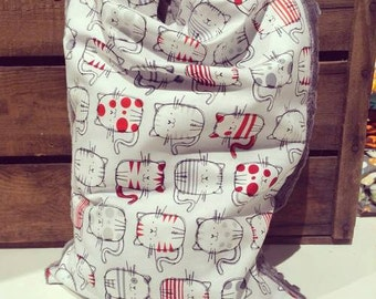 Pillow buckwheat hulls and pillowcase, grey and Red cats