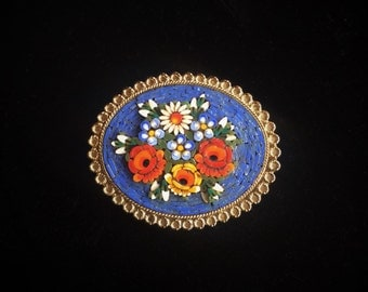 Vintage Raised Floral Micro Mosaic Brooch With Scallop Edge