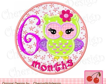 "6 months Baby owl Birthday Machine Embroidery Applique Design -for 4x4 5x5 6x6"""