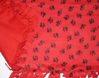 Personalized Large Blanket for Your PUPPY or DOG with Black Paw Prints on Red  Fleece