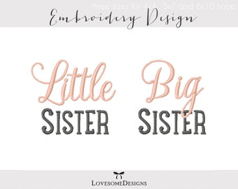 Little Big Middle Sister Three Sizes Siblings Embroidery Design, Modern Embroidery, Sister Kids Tshirt Design, Sister Shirt Embroidery