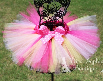 Hot Pink, Pink and Yellow Tutu - Newborn Baby Infant Tutu - Toddler Tutu