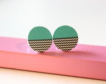 Wood * zigzag earrings * 12 mm