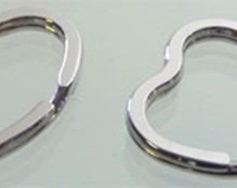 Silver heart key rings, 34 mm, different packaging units