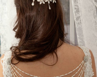 Pearl and diamante bridal wedding dress back jewellery