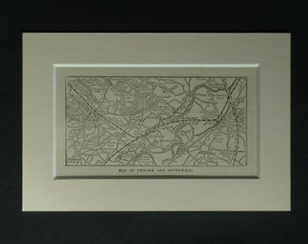 1882 Antique Newark map, Historic Decor, Available Framed, Southwell Art, Nottinghamshire Gift, East Midlands Picture, Old Cartography Print