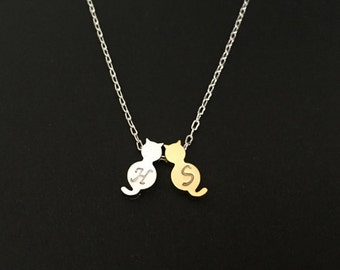 2 Cat Necklace. 2 Initial Necklace. Personalized Necklace.Gold & Silver Cat Necklace. 2 Initial Cat Necklace.Gift for Cat Lovers.Cat Pendant