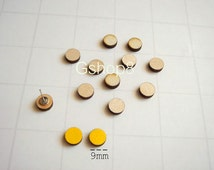 Laser Cut Wood Circles 9mm, 20 Wood Cabochon for Stud Earrings, Unfinished Wood geometric Tiles for earrings