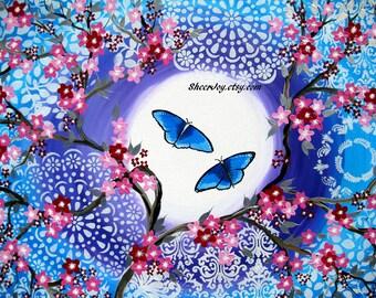"Japanese painting, Japanese art, painting of cherry blossom, Japanese paintings, pink cherry blossom, Australian art, Australian, 36"" x 24"""