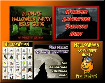 5 Halloween Downloads - Halloween Bingo, Treasure Hunt Puzzles, Party Game Sheets and more - for a great Halloween Party!