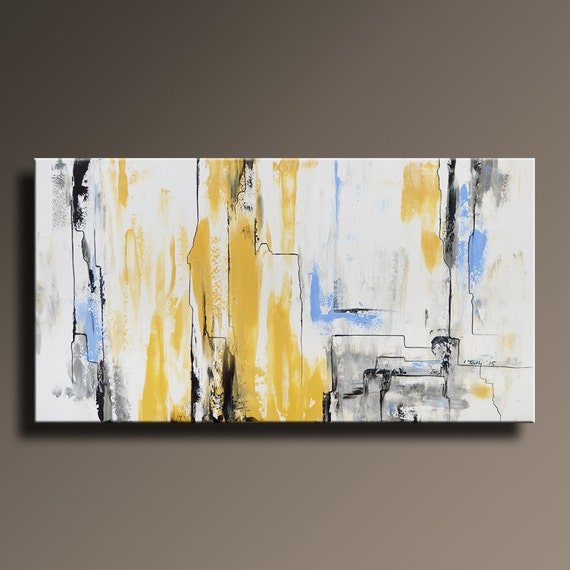 Abstract painting yellow gray white black blue painting by for Kitchen colors with white cabinets with large abstract canvas wall art