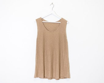 on sale - beige ribbed knit tank top / long sleeveless a-line tunic / size L