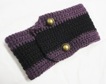 Collar warm Scarf Neckwarmer purple black handknitted