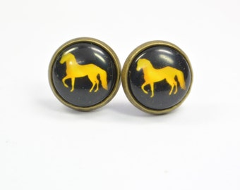 Stud earring Horse black yellow