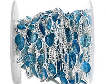 35% OFF One Foot Beautiful Hydro Blue Topaz, 10-15mm Silver Plated Bezel Connector Chain by foot (SPHB-20002)