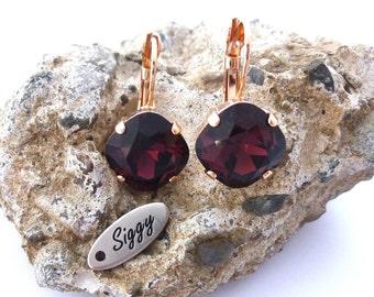Burgundy Earrings, 12mm Cushion Cut, Swarovski Crystal, Marsala earrings, Maroon, Rose Gold Square Earrings, Bridesmaids Gift, FREE SHIPPING
