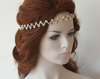 Rhinestones Headband, Wedding Pearl Headpiece, Bridal Accessories, Bridal Hair, Wedding Hair Accessories