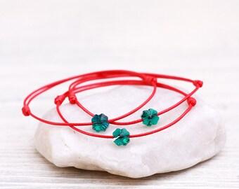 Red String Bracelet, Four Leaf Clover Bracelet, Amulet, Talisman, Lucky Bracelet, Protection Bracelet, Kabbalah Bracelet, Red String Of Fate