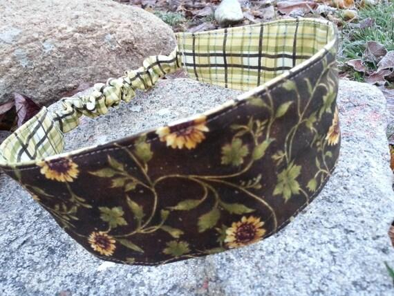 Sunflower Headband, Ladies Reversible Plaid Headband