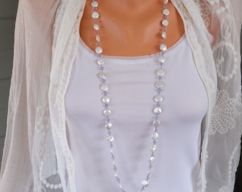 Freshwater Pearl Swarovski Crystal Necklace  Hand Knotted White Coin Pearls  Lavender Swarovski Crystals Boho Stye by LizzieTishBoutique