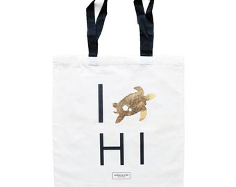 Hawaii Bachelorette Totes with Gold Tortoise, Maui Wedding Totes