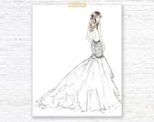 PREORDER: Wedding Custom Art Illustration, Bride Bridal Dress, Portrait Drawing, Engagement Gift