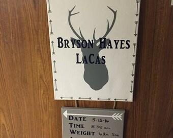 Personalized Birth Announcement Door Hanger