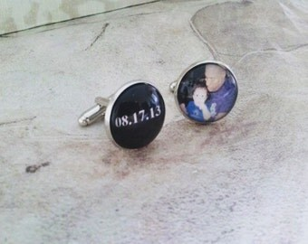 Father and Child Cufflinks Set in Silver Color Tray with Black Background White Font Custom Date or Words