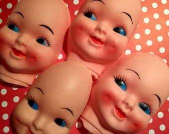 Vintage Set of 4 Rubber Doll Face Mask Kitsch Mixed Media/Altered Art Craft Supply