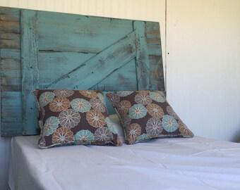 "Rustic Headboard ""Turquoise Barn Door"""