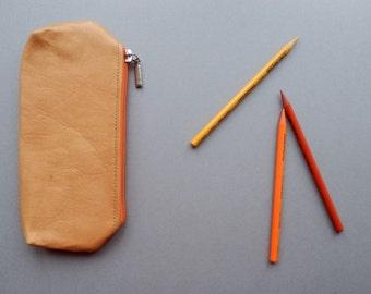Leather pencil case. Leather make up bag. Natural color leather, orange zipper.