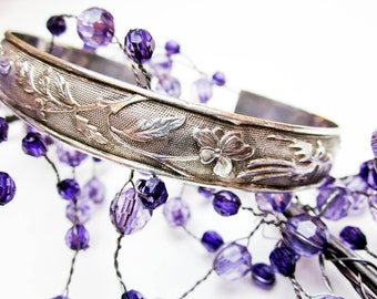 Chinese Wedding Bracelet 1890s, 900 Silver, Phoenix & Floral Hand Engraved Cuff, Chinese Chop Marks, Hallmarked, Made for Chinese Market.