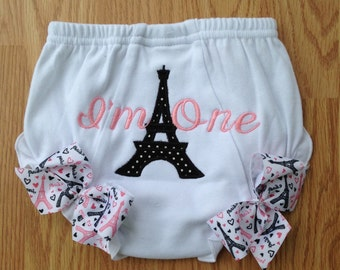 Paris Birthday Bloomer Diaper Cover First Birthday Bloomer Ruffled Bloomer Applique Diaper Cover Personalized Paris Birthday