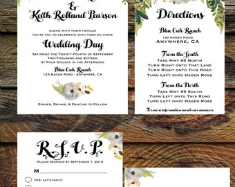 Fall Botanical Weding Invitation Suite