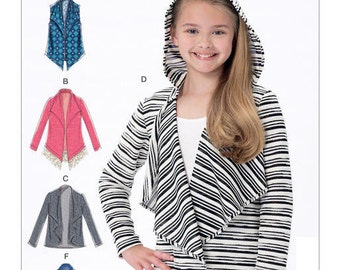 McCalls 7427 Girls' Shawl Collar Vest and Cardigans, Tween Girls Sewing Pattern, New Uncut Size 7-8-10-12-14