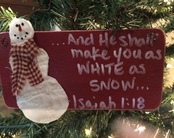 """Snowman """"And He shall make you white as snow... Isaiah 1:18"""" Christmas Ornament (Red)"""