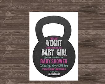 Crossfit Themed Kettlebell Baby Shower Invitation