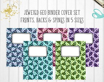 "Printable Binder Covers | Printable Binder Inserts | ""JEWELED GEO"" 