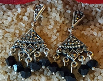 Sterling Silver Marcasite Dangle Earrings with Black Bead Accents (st - 1634)