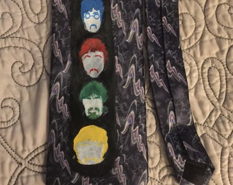 Hand Painted Beatles on Let It Be Beatles Necktie