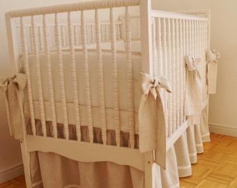 Natural Linen Crib  bedding - gathered skirt, 4 side bumper - Nursery bedding