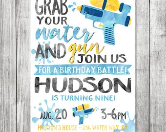 Water Gun Birthday Party - Squirt Gun Party  - Pool Party Birthday Invite - Water War Birthday - 5x7 JPG