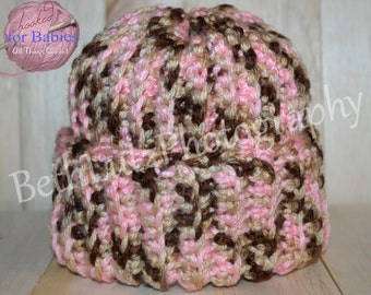 Size 0-6 months Handmade Crochet Baby Girl Hat, Baby Camo, Baby Girl Beanie, Infant/Toddler Sized Hat, Baby Girl Knit Hat. Ready to Ship!