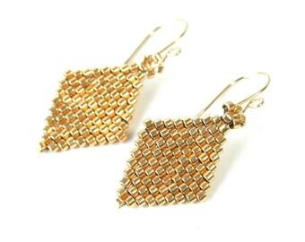 Small Gold Earrings Geometric Gold Earrings Diamond Seed Bead Earrings Modern Jewelry Lightweight Earrings Glass 14k Gold Filled Earwires